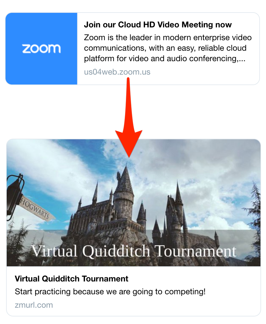 ZmURL customizes Zoom link previews with images & event sites