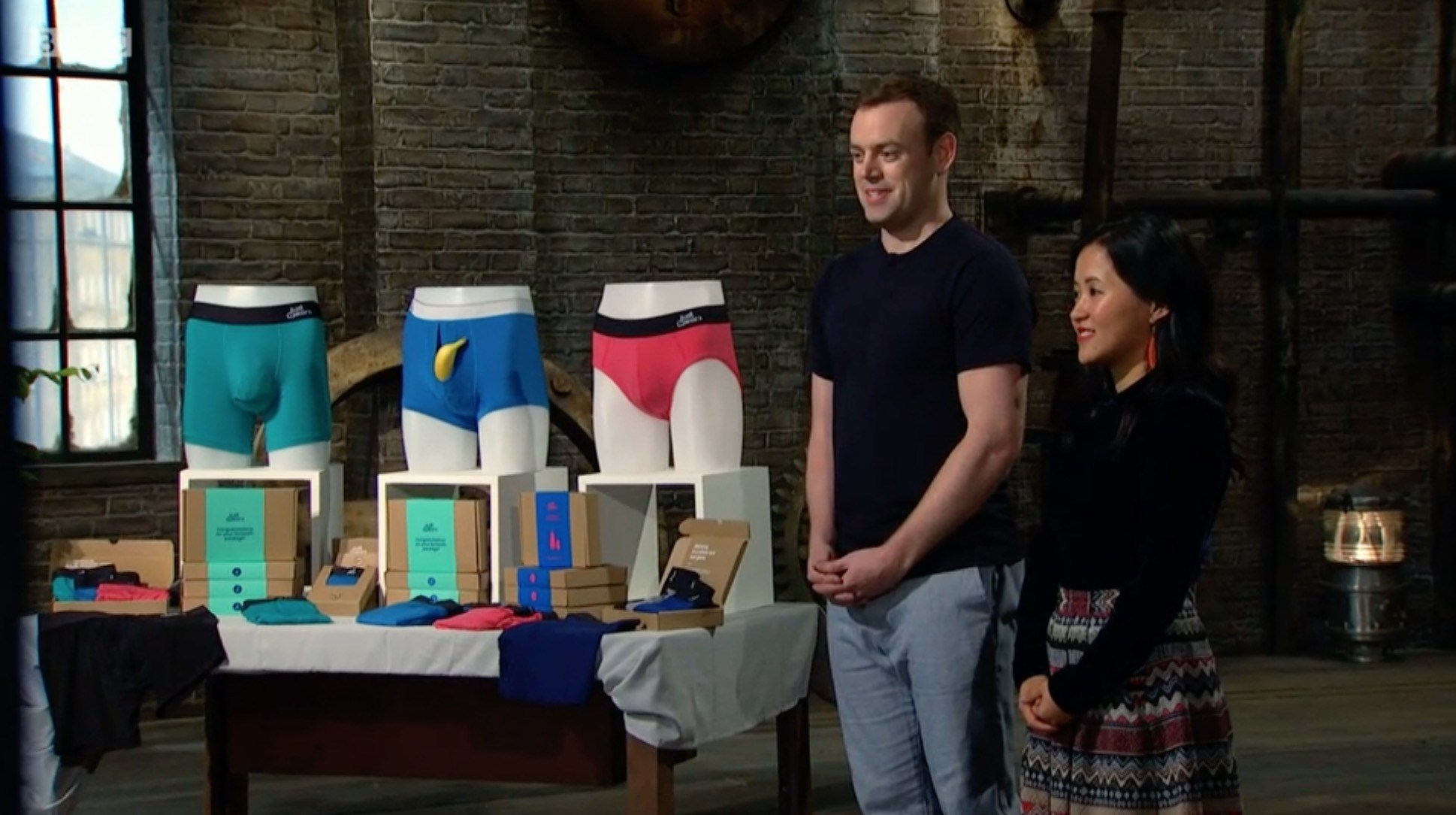 Dragons' Den stars get the giggles Peter Jones compares bulge sizes on pants: 'It's a palace for your phallus!'