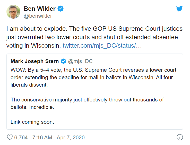 美国一州因疫情延期初选遭最高法院否决 当地官员:我气炸了