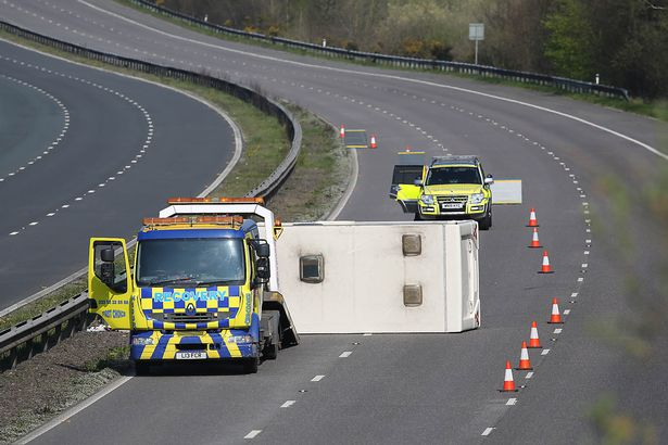 Caravan crash shuts M5 motorway as locals tell tourists to 'stay away'
