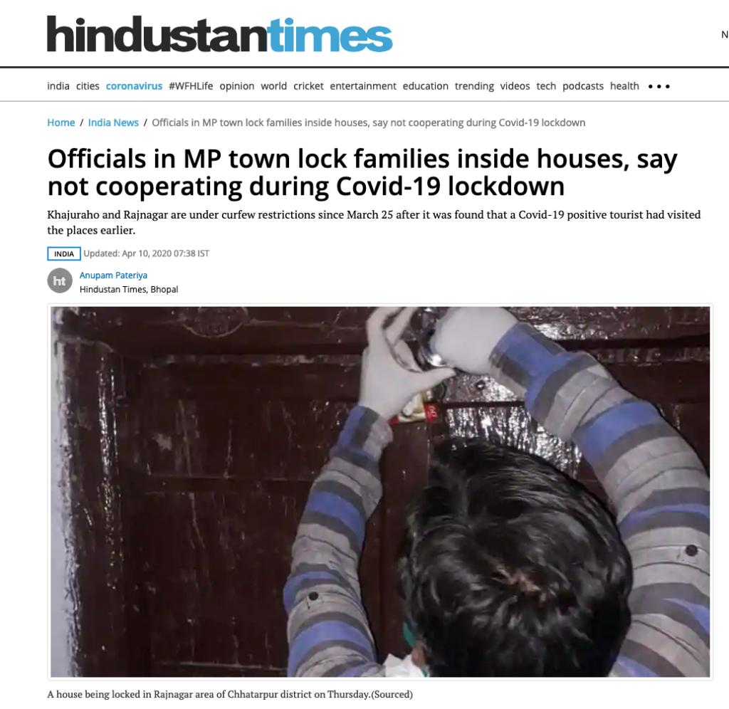 印度城镇将数十户人家锁在屋里:不与政府合作,违反居家隔离规定