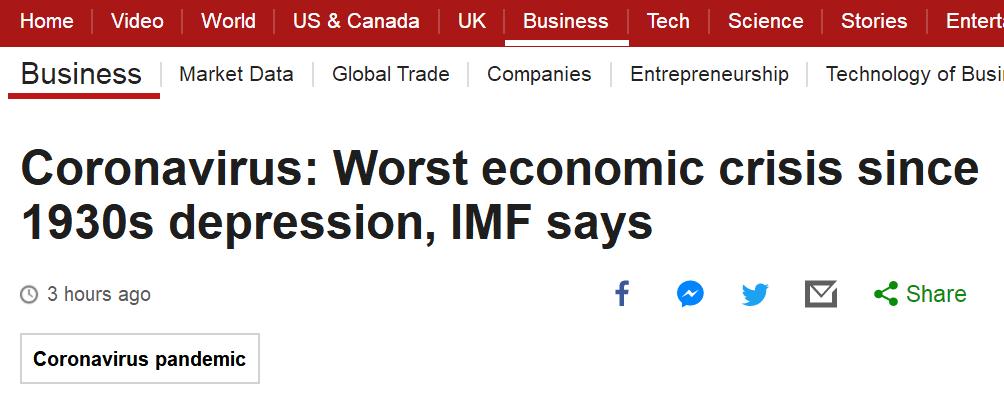 IMF:新冠大流行使全球面临经济大萧条以来最严重经济危机
