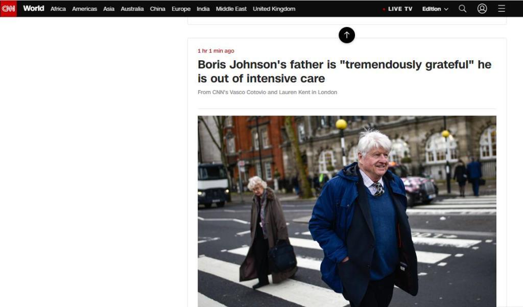 英国首相约翰逊离开ICU,他的父亲:他差点为集体牺牲了自己