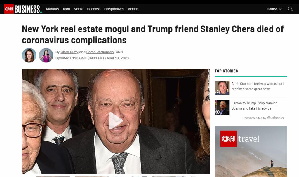 美媒:美国78岁房地产大亨、特朗普好友因感染新冠病毒去世