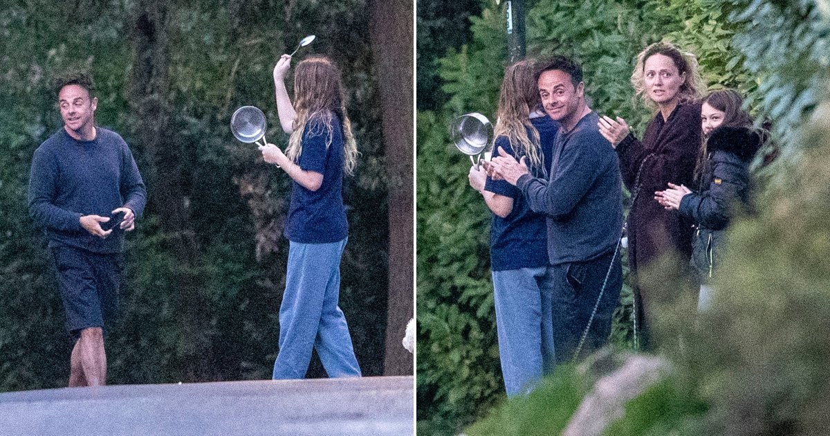 Ant McPartlin and girlfriend Anne-Marie Corbett clap on their doorstep for NHS and key workers