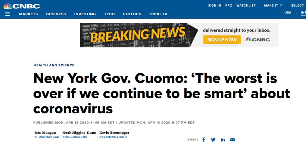 单日新增死亡人数减少、呼吸机使用率下降……纽约州长:最坏的时期已经过去