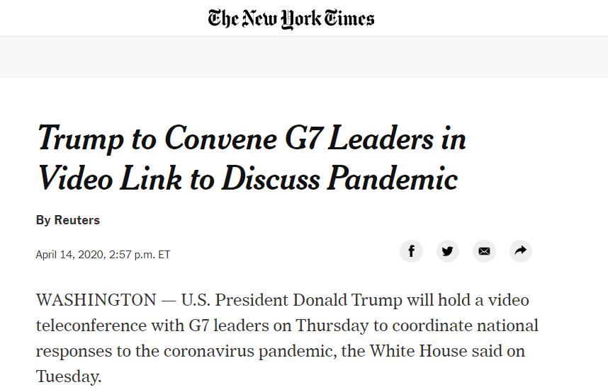 白宫:特朗普将与G7领导人开视频会,讨论疫情应对