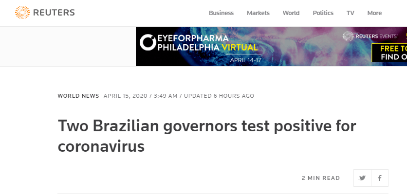 外媒:巴西两州长新冠病毒检测结果呈阳性