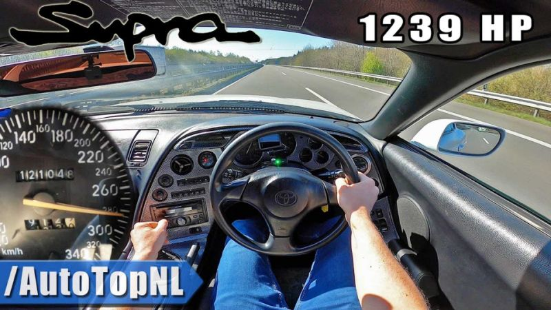 1,239-bhp Toyota Supra accelerates like a rocket on the Autobahn