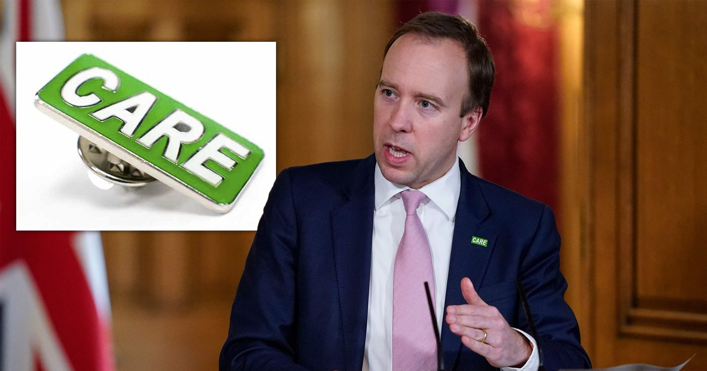 Health secretary mocked for announcing badge for care workers