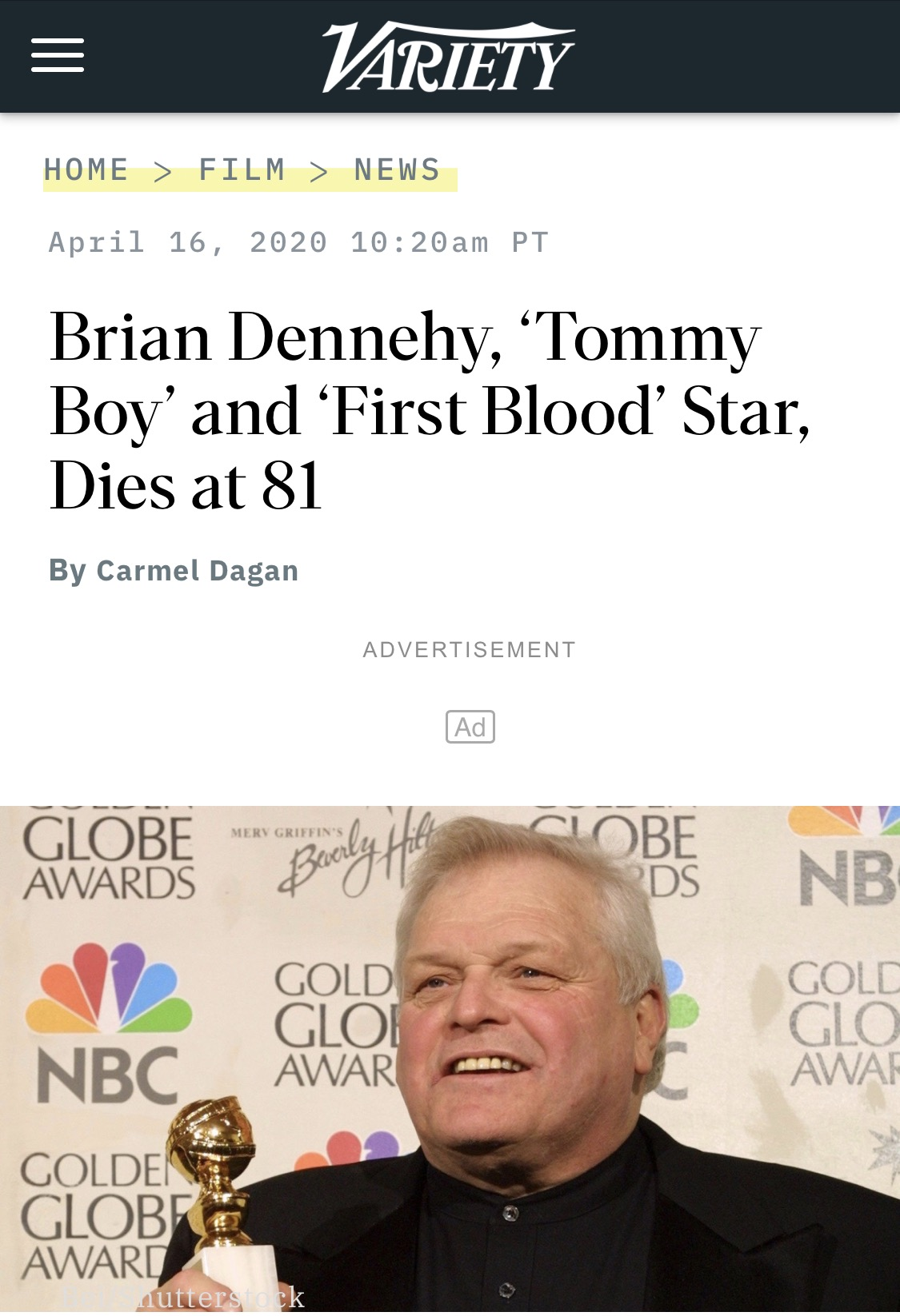 《第一滴血》男星布莱恩-丹内利去世 享年81岁