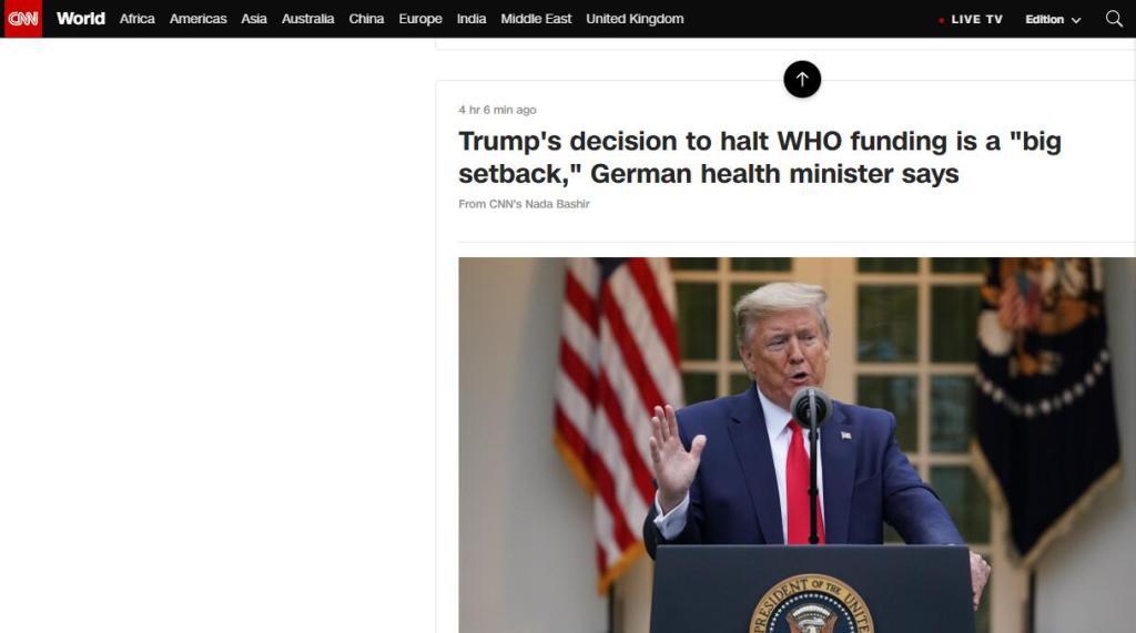 """特朗普""""断供""""世卫,德国卫生部长:现在需要国际合作,世卫角色至关重要"""