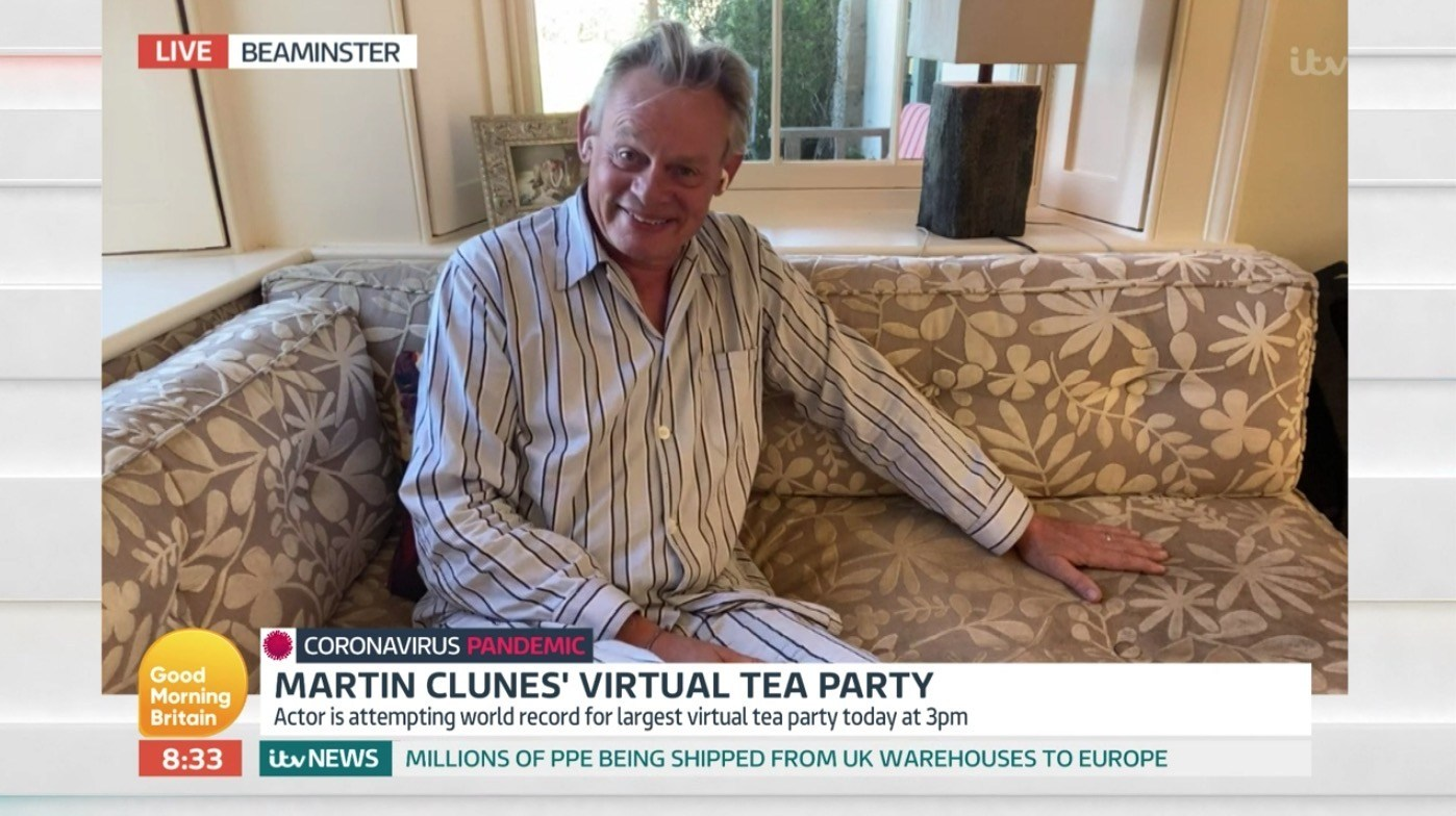 Martin Clunes is a full mood as he's interviewed by Piers Morgan on Good Morning Britain in his pyjamas