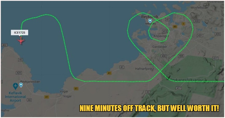 Pilot Carrying Medical Supplies Draws Heart Shape In Flight Path To Show Support For Medical Staff