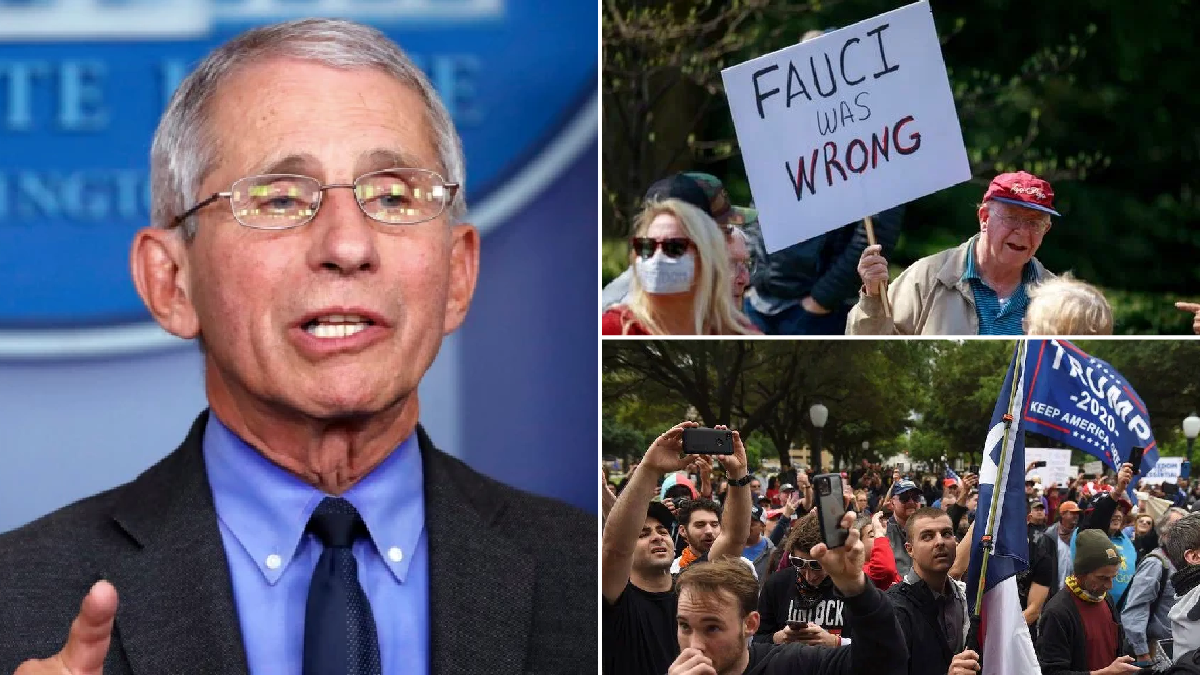 Dr Fauci warns coronavirus protests will 'backfire' as demonstrators demand his firing