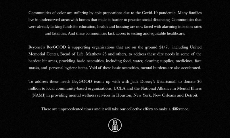 Beyoncé's charity gives $6 million to help communities of color hit by coronavirus