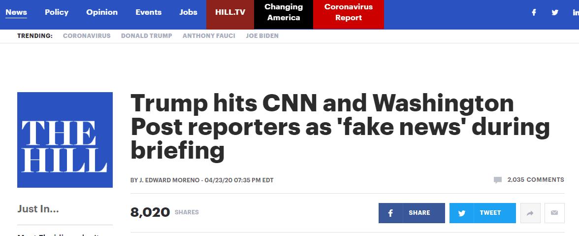 """美媒记者当场质疑""""阳光抑制病毒"""",特朗普:我是总统,你是假新闻!"""
