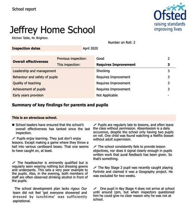 Teacher's Ofsted report on his home-schooling skills leaves parents in stitches