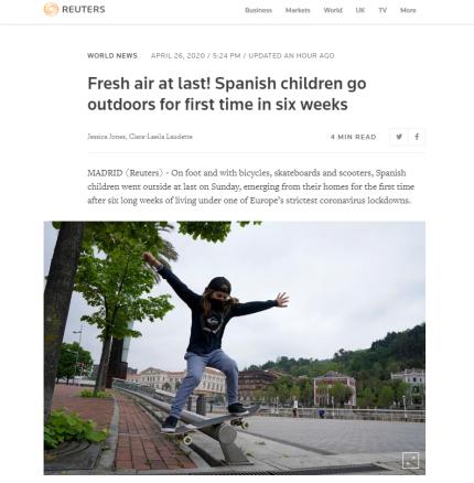 """欧美媒体关注:全国实施""""封城""""44天后,西班牙14岁及以下年龄孩子今起获准每天可外出活动1小时"""
