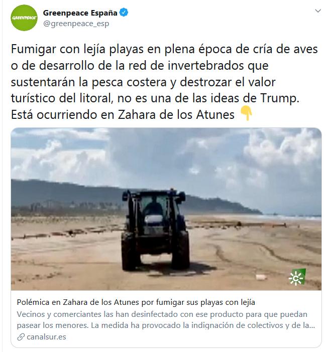 西班牙小镇为防疫在海滩喷消毒剂挨批,环保组织吐槽:听起来像特朗普出的主意