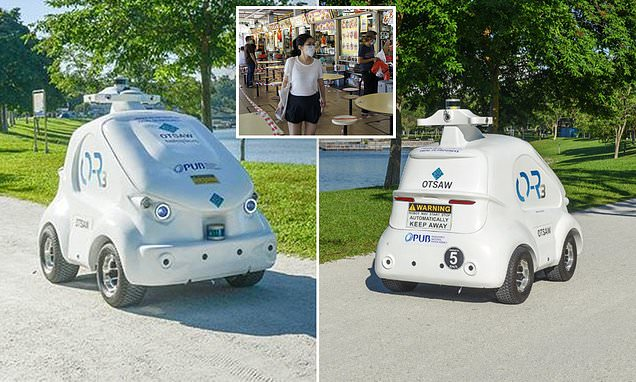 RoboCop! Automated machine gently scolds park-goers for failing to adhere to social distancing