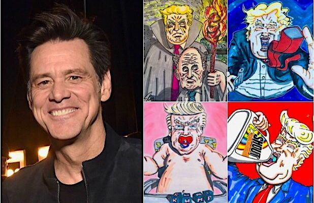 Jim Carrey Depicts a Destructive Trump Presidency in 60 of His Politically Charged Artworks (Photos)