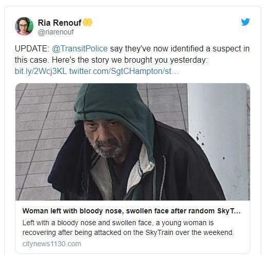 温哥华一男子天车暴打女乘客被捕