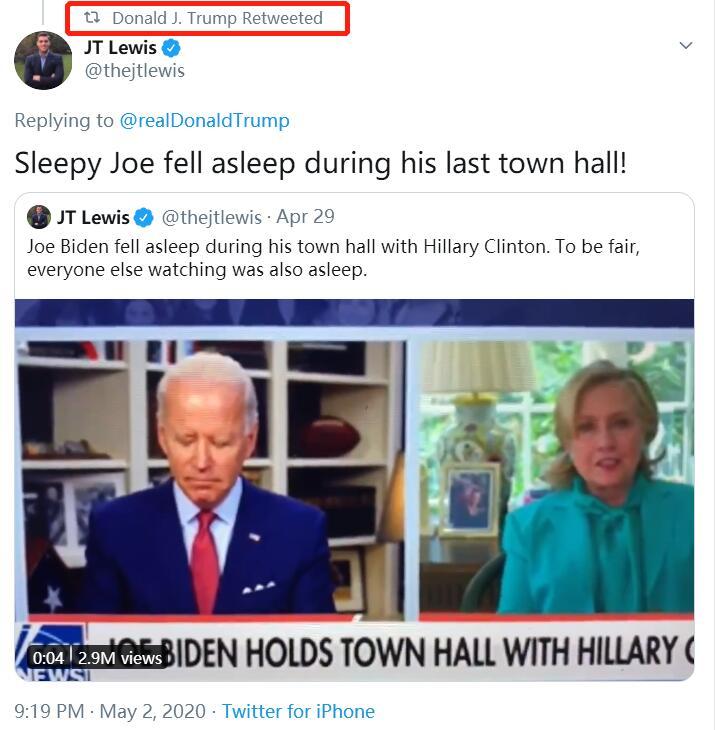 """拜登直播时疑睡15秒 特朗普转发""""昏昏欲睡的乔""""视频"""