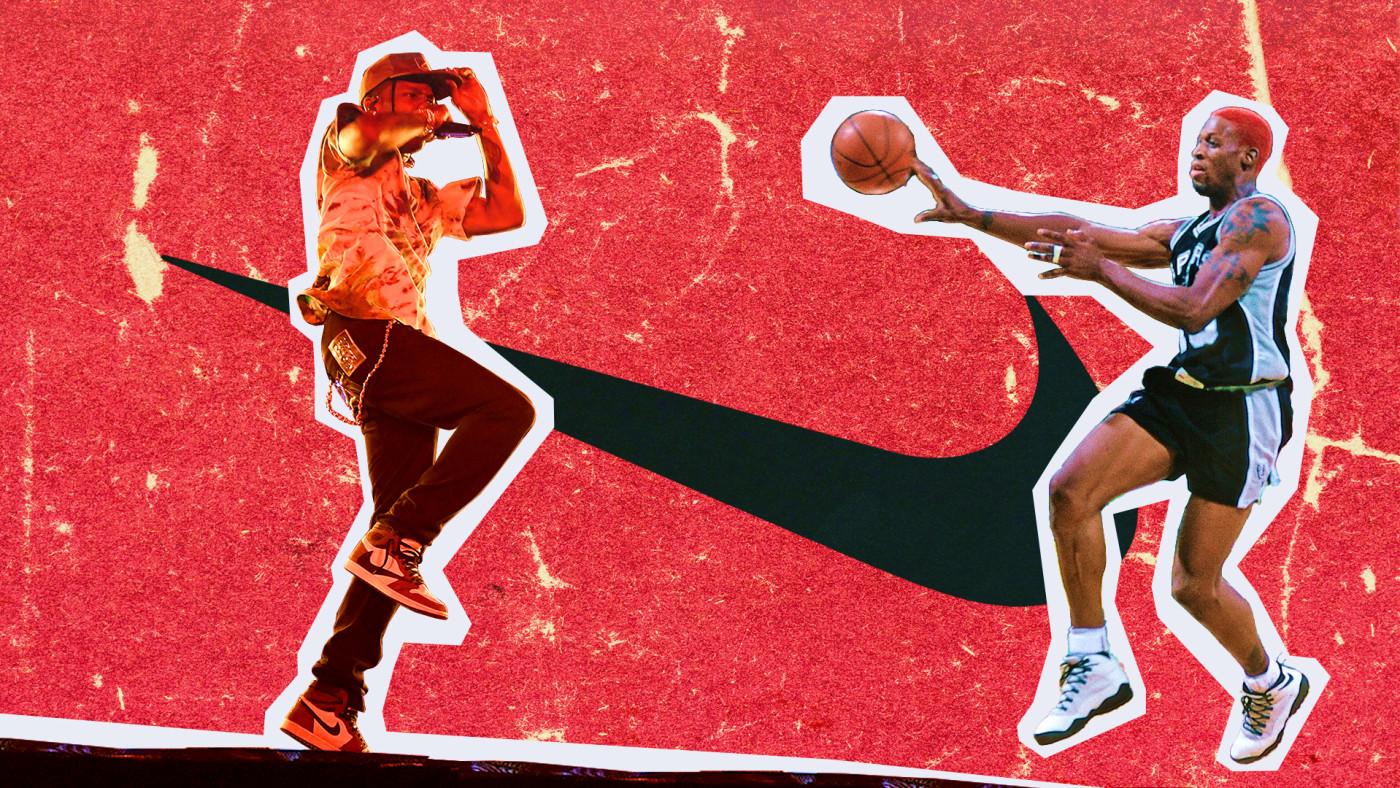 From Dennis Rodman to Travis Scott: A History of Nike's Backwards Swoosh