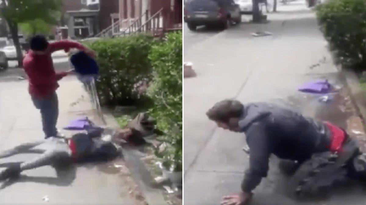 Moment man filmed pal dumping bucket of icy water over sleeping homeless man