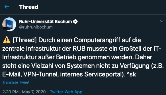 German university Ruhr-Universität Bochum's network suffers lethal cyber attack