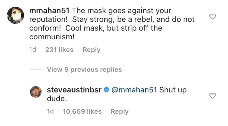 Stone cold steve austin shuts down critic WHO called his face mask 'communism'