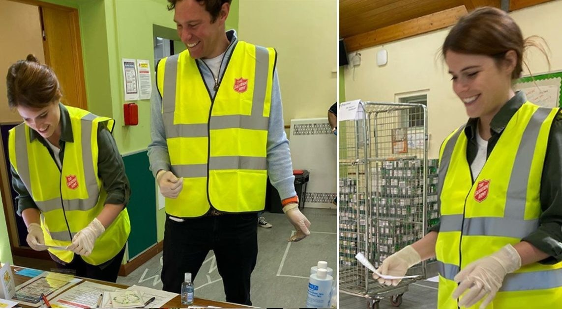 Princess Eugenie and husband Jack help prepare parcels at foodbank