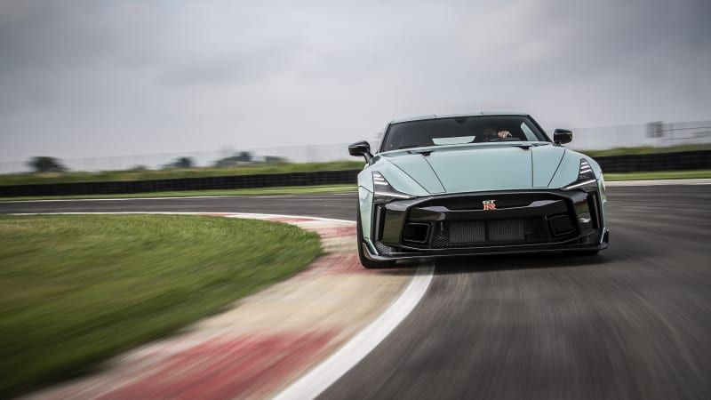 Nissan's first production GT-R 50 roars down a track for the first time