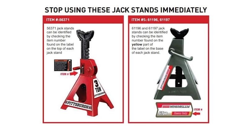 Harbor Freight recalls over 1.7 million jack stands that can suddenly collapse