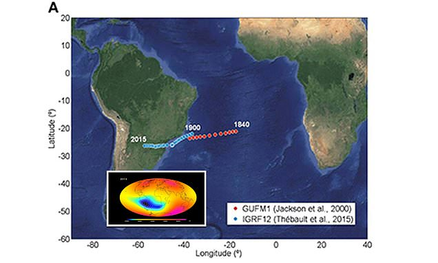Earth's magnetic field is WEAKENING between Africa and South America, and malfunctioning satellites