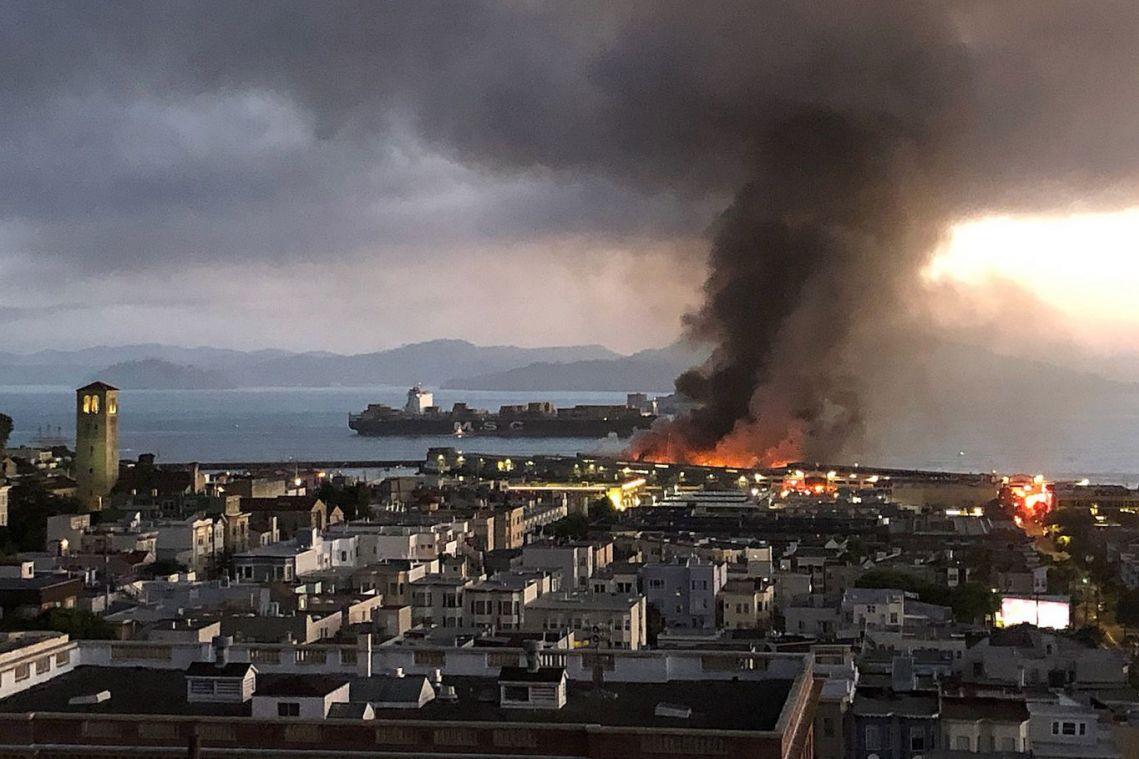Fire at San Francisco pier destroys a quarter of its warehouses