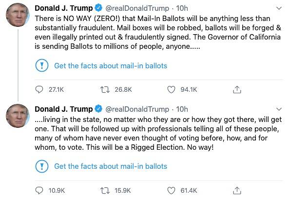 Twitter places fact-check notification on Trump tweet about mail-in ballots