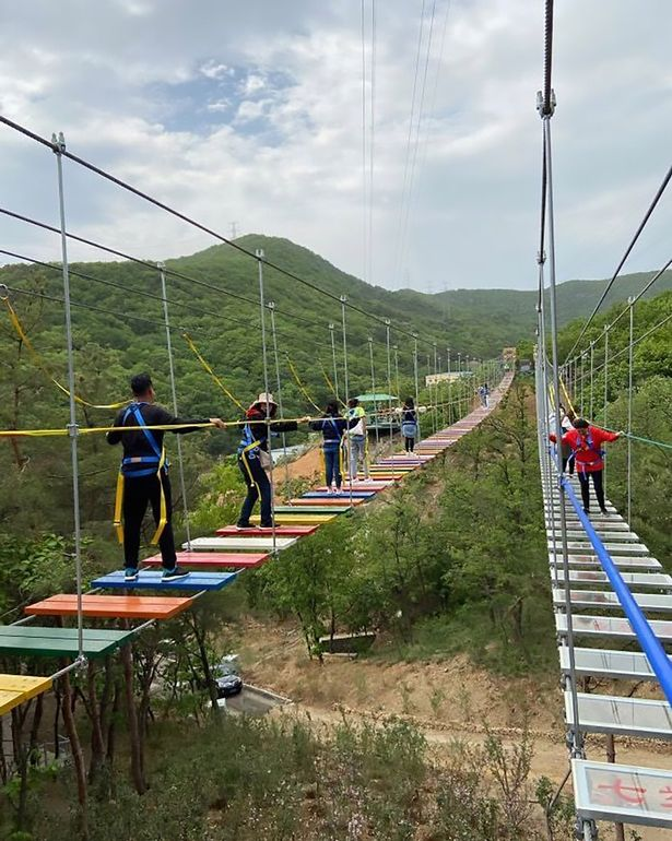 Glass tourist bridge in China closes as girl, 11, slips through gap and snaps spine