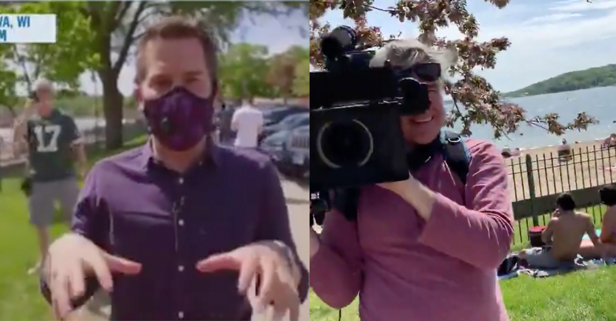 Msnbc reporter attempts to shame man for not wearing mask, man points out no one on his crew is wearing them