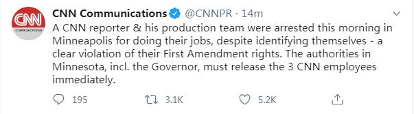 快讯!直播美国骚乱遭警方逮捕的CNN记者已被释放