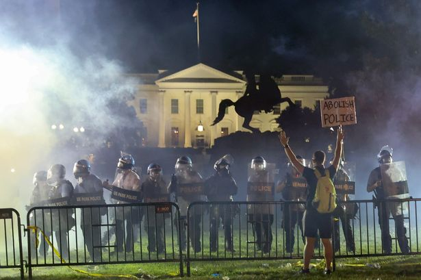 White House plunged into darkness as Washington DC protests erupt and Trump flees