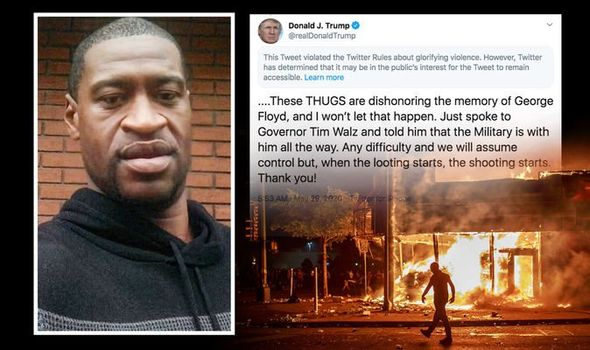 Donald Trump's tweet on George Floyd HIDDEN by Twitter for 'glorifying violence'