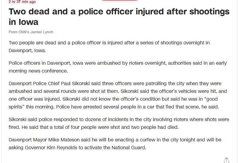 美国艾奥瓦州发生多起枪击事件 2人死亡