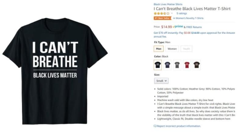 美国骚乱期间,胡椒喷雾和反歧视T恤成亚马逊畅销产品