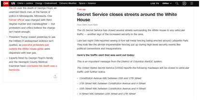 安全措施加强!美特勤局封锁白宫周围数条街