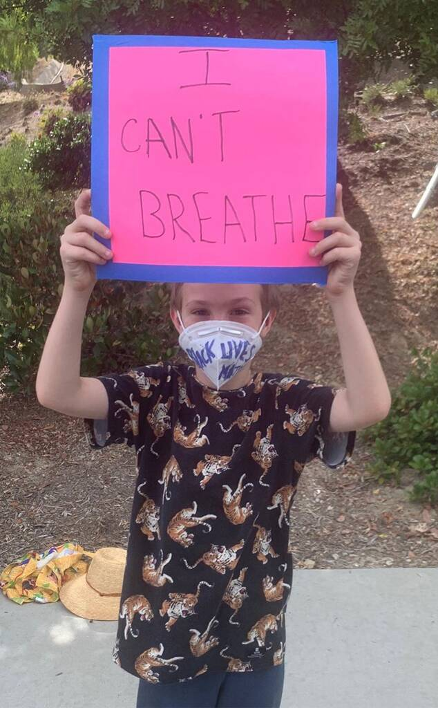 January Jones Shares Photo of 8-Year-Old Son Participating in Black Lives Matter Protest