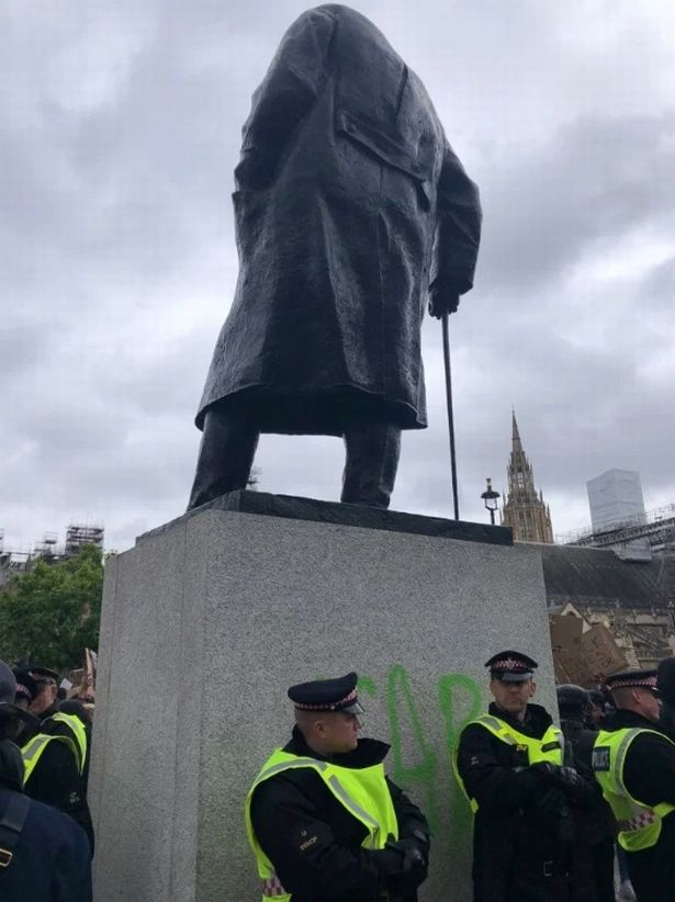 Winston Churchill statue vandalised as thousands attend Black Lives Matter rally