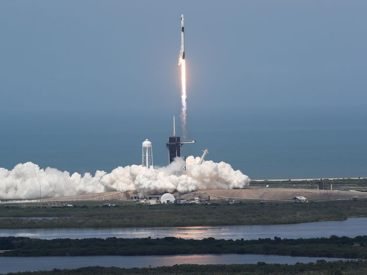 Scenes of SpaceX launching NASA astronauts into orbit, moment by moment