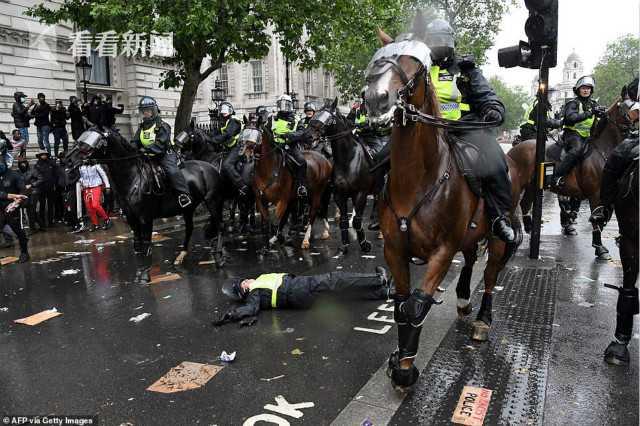 英国抗议者举行游行 骑警的马被攻击脱缰而逃